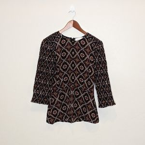 A.L.C. brown smocked blouse